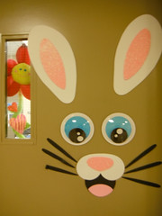 Happy Window Wednesday Folks ... (Mr. Happy Face - Peace :)) Tags: hww art2017 window pink rabbit bunny door smiley chuckle happy childplay happyface sunflower silly ears nose