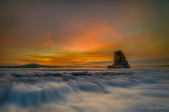 Incoming waves (FollowingNature (Yao Liu)) Tags: followingnature hightide rock ngc oceanwaves sunset davenport