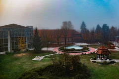 Therme Catez (wigerl - herwig ster) Tags: fujixt1 therme thermenspass quelle bäume trees november 2017 neblig fuji architecture weekend fun nebel winter europa niceweekend spassbad wochenende bebel catez colourfull fujixf18135mm licht warmwater foggy europe foto fog slovenija warmeswasser light slowenien