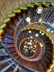 The Cecil Brewer Staircase (No Great Hurry) Tags: lighting lights londonarchitecture london architectural stairwaytoheaven lookingdown spiral swirl instagram staircase stairs heal's iphonography iphone constructuralart robinmauricebarr nogreathurry