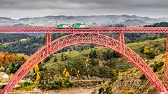 Prendre le train en marche (glookoom) Tags: france color bridge eiffelbridge forest train outdoors automn eiffel cloud landscape mountain ngc