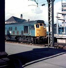 Class 25 at Stoke on Trent station (robmcrorie) Tags: class 25 loco stoke trent station train rail railway british blue 1975 headcode 9d44 1970s