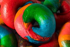 Sweet Homemade Rainbow Bagels (brent.hofacker) Tags: american artificial artistic background bagel baked blue bread breakfast carbohydrates cheese colored colorful crusty decoration delicious dessert diet dough food fresh healthy multicolor newyorkbagels orange pastry psychedelic purple rainbow rainbowbagel rainbowbagels rainbowfood round rustic snack style sweet traditional vibrant