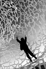 hanging onto every word (bostankorkulugu) Tags: antibes nomade jaumeplensa bastionsaintjaume france frenchriviera cotedazur kid child boy letters sculpture art artwork