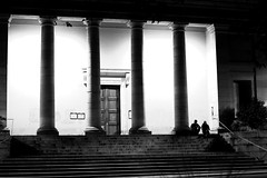 In front of the court (pascalcolin1) Tags: chalonsursaône tribunal court homme man columns colonnes amis friends nuit night lumières lights photoderue streetview urbanarte noiretblanc blackandwhite photopascalcolin canon50mm 50mm canon