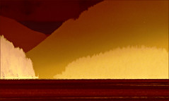 narrow passage (calamityjan2008) Tags: earlynov12 trees mountains inlet ocean water sky reds sepia poster narrowpassage alberniinlet alberniinletposter abovethecouch wallart