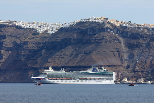 "Cruise ship ""Azura"" in front of the village Fira, Santorini"