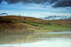 Ogden Resevoir (Missy Jussy) Tags: sky clouds horizon pylon hills hillside fields trees sheep farmland farming autumn colourful seasonal fog water reservoir reflections ogden newhey rochdale landscape lancashire land saddleworth atmosphere moodylandscape moody moors walkinglandscape canon canon5dmarkll canon70200mm ef70200mmf4lusm ef70200mm 70200mm