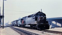 Cotton Belt SD45T-2 locomotive at Colton California in 1977 (Tangled Bank) Tags: old classic heritage vintage train railroad railway trains railroads railways 1970s 70s north american cotton belt sd45t2 locomotive colton california 1977 ssw sp