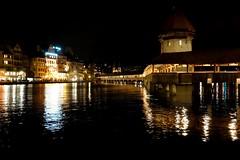 Lucerne during night (Carandoom) Tags: night 2017 lucerne switzerland reflection light water tower nuit ciel eau lake bâtiment