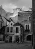 Dijon (creyala) Tags: france dijon mustard streetphotography street blackandwhite bw architecture house houses many people silhouette sky bricks person hurry