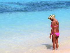 Fish in there? (thomasgorman1) Tags: island pacific rarotonga tropical lagoon shore coral reef woman flowerband flowers candid bikini tide canon ocean