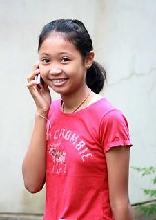 pretty girl on the phone