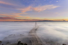 Bay Blanket (rootswalker) Tags: baybridge lowfog easternspan sunrise clouds highway80 oakland sanfrancisco treasureisland phantom4pro aerialphotography