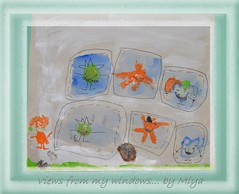Views from my windows ... by Miya (Oul Gundog) Tags: back garden abstract 5year old grandaughter newtownards co down northern ireland children ulster pastel food animal windows