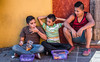 2017 - Mexico - Tequila - Sidewalk Trio (Ted's photos - For Me & You) Tags: 2017 cropped mexico nikon nikond750 nikonfx tedmcgrath tedsphotos tedsphotosmexico tequila vignetting trio boys three kids males denim denimjeans shorts tequilajalisco tequilapuebomágico santiagodetequila basket baskets seated sitting curb sucking thumbsucking
