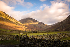 Wasdale Head and Great Gable [Explored 07 12 2017] (urfnick) Tags: canon eos 1300d thelakes thelakedistrict nationalpark england sunlight golden walls drystone explore explored