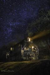 SRY 612 Under the Stars (smbrooks_2000) Tags: sierrarailway railroad trains train locomotive rails stars sky night light track jamestown california railfanning
