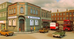 Town scene (kingsway john) Tags: kingsway models oo gauge 176 model bank woolworrths supermarket lbw ssm wwmd
