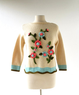 1960s wool sweater with crochet flowers and scalloped hem, from Tami