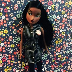 Pinstripes and Wildflowers (The Dollhouse of Usher) Tags: fashion wildflowers dress barbie pinstripes playtend toy doll integrity neve hook off
