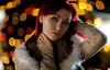Masha (dontgiveacake) Tags: girl portrat available light beaty red head christmas lights bokeh