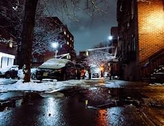 December Snow (Juni Safont) Tags: phonecamera night snow reflection puddle water street williamsburg brooklyn nyc newyorkcity