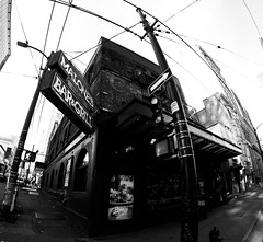 Malone's Social Lounge & Taphouse (MassiveKontent) Tags: vancouver bw urban blackandwhite monochrome city streetphotography britishcolumbia vancity vancouverisawesome veryvancouver vancouverbc pacificnorthwest gopro noiretblanc road lines corner
