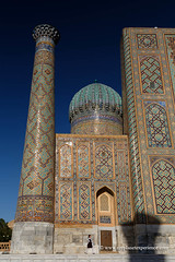 Uzbekistan (My Planet Experience) Tags: samarkand samarqand sherdor madrasah registan square mosaic blue dome tower cupola sky islamic sunset people girl unesco architecture silk road route central asia oʻzbekiston узбекистан uz uzbekistan ouzbékistan myplanetexperience wwwmyplanetexperiencecom