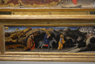 Florence, Italy - Galleria degli Uffizi - Adoration of the Magi (Fabriano) - Detail, The Flight to Egypt
