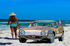 "On Panama City Beach, Florida USA (crimsontideguy-from ""Sweet Home Alabama"" USA) Tags: beach 1963avanti sand seascapes sea gulfofmexico florida photoshop nikon blue classiccars automobiles scenic skies woman bikini studebaker"