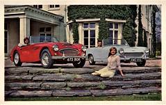 Austin-Healey 3000 & Sprite Mk. II (aldenjewell) Tags: austin healey 3000 sports convertible sprite mk ii postcard
