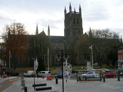 One side of Worcester cathedral (southglosguytwo) Tags: 2017 buildings cloudy november sky worcester trees cars cathedralsquare flags cathedral variouspeople