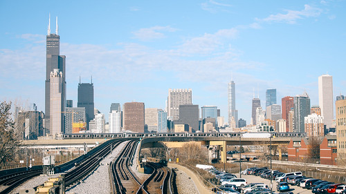 "Chicago Skylines and the ""L"" Train"
