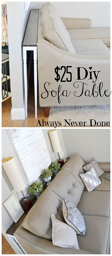 Diy Home : DIY Sofa Table for $25 using stair rails as legs.I love this ides! Makes it easy...