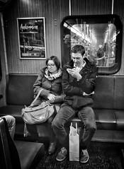 One day in Munich (Timo Kozlowski) Tags: bavaria bayern münchen munich street streetogs huaweip9 monochrome snapseed mvg publictransportation subway ubahn couple smartphone