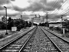Southbound... (Dennis Sparks) Tags: blackwhite michigan plymouth traintracks iphone