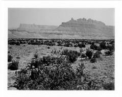black dragon canyon (a perhaps hand) Tags: polaroidlandcamera instantcamera fp3000b instantfilm blackandwhitefilm landscape mountains desert utah