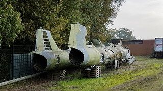 Lockheed F-104 Starfighter's fuselages left F-104G c/n 683D-7184 serial 23+01, behind F-104G c/n 683D-9007 serial 25+61 right RF-104G c/n 683D-8239 serial 24+89 with tail of Belgium AF FX-58 all German Air Force