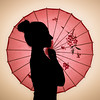 Micaela (Costantino L.) Tags: japanese ombrello parasol giappone rosso umbrella silhouette giapponese parasole japan red