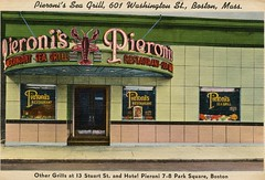 Pieroni's Sea Grill, Boston, Mass. (SwellMap) Tags: postcard vintage retro pc 30s 40s 50s 60s thirties forties sixties fifties roadside midcentury atomicage nostalgia americana advertising coldwar artdeco linen design style architecture building
