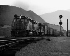 Summit at Dusk (GRNDMND) Tags: trains railroads unionpacific up locomotive emd sd402 gp30b sd45 cajonpass summit california
