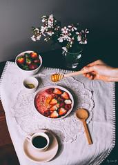 Banana almond smoothie with strawberry and raspberry (ErinaMak) Tags: comfortfood dessert espresso sauce sweet beepollen milk fujifilm morning foodphotography powder treat tabletop fujixt1 rawhoney bowl flower breakfast honey xf35mm healthy drizzling vegan raspberry berry sweets smoothie stilllife strawberry foodstyling banana coffee almond