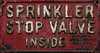 sprinkler sign (zaphad1) Tags: sprinkler valve inside sign old corroded rusty metal texture stop cast iron