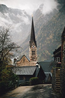 Hallstatt on a rainy autumn day