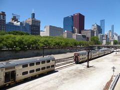 Chicago, Skyline from South Grant Park, Metra Electric District Trains (Mary Warren 9.6+ Million Views) Tags: chicago urban cityscape southloop skyline skyscrapers transportation trains metraelectricdistrict