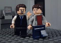 Tony and Peter (Metarix (MrKjito)) Tags: lego super hero minifig tony stark peter parker avengers ironman spiderman marvel custom facility