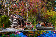 Cabin In The Woods II (Mike Pesseackey (UAGUY1)) Tags: cabin lakes forrest florida parkerflorida paradise photoshop nikon nature reflections fishing boats cars trucks trees art digitalart fall compilation layers textures nikond3100 swamp bayous awardtree
