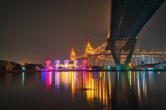 Under the bridge (technodude67) Tags: thailand night bridge longexposure bangkok wanderlust reflection reflections bhumibol asia travel outdoor river