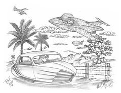 Mylar Flyer (rod1691) Tags: myart art sketchbook bw scifi grey concept custom car retro space hotrod drawing pencil h2 hb original story fantasy funny tale automotive illistration greyscale moonpies sketch sexy